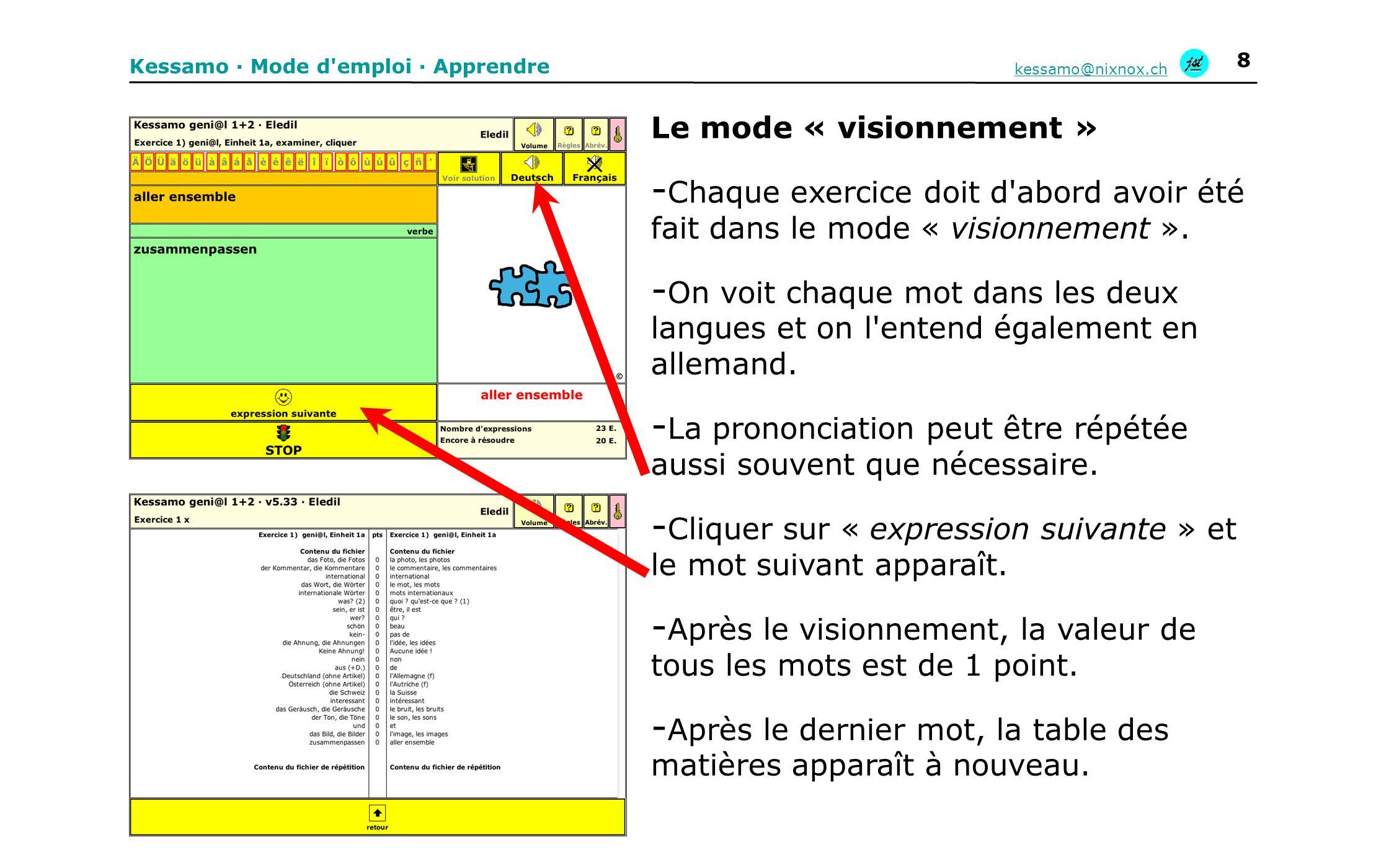 Kessamo · Mode d emploi · Apprendre kessamo@nixnox.ch 9 Mode « cliquer » - Par la suite, le mode « visionnement » apparaît toujours dans cette fenêtre.