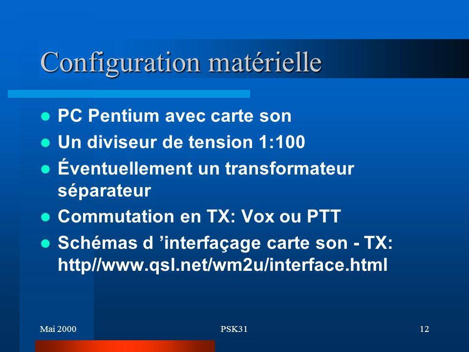Mai 2000PSK3111 Désavantages Syntonisation délicate Emetteur doit être très stable en émission Pas de correction d erreurs (BPSK) PC doit être un Pentium au minimum