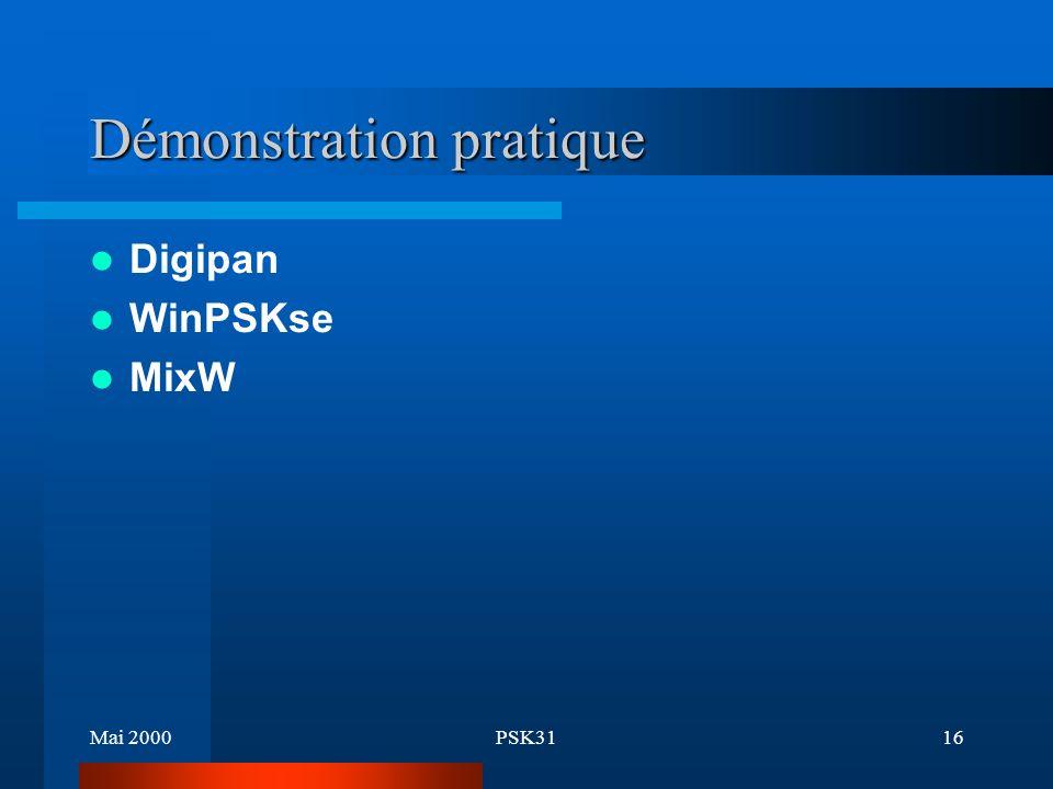 Mai 2000PSK3115 Fréquences 3580 kHz 7035 kHz 10145 kHz 14070 kHz 18100 kHz 21080 kHz (21070 kHz plus utilisée) 24920 kHz 28120 kHz