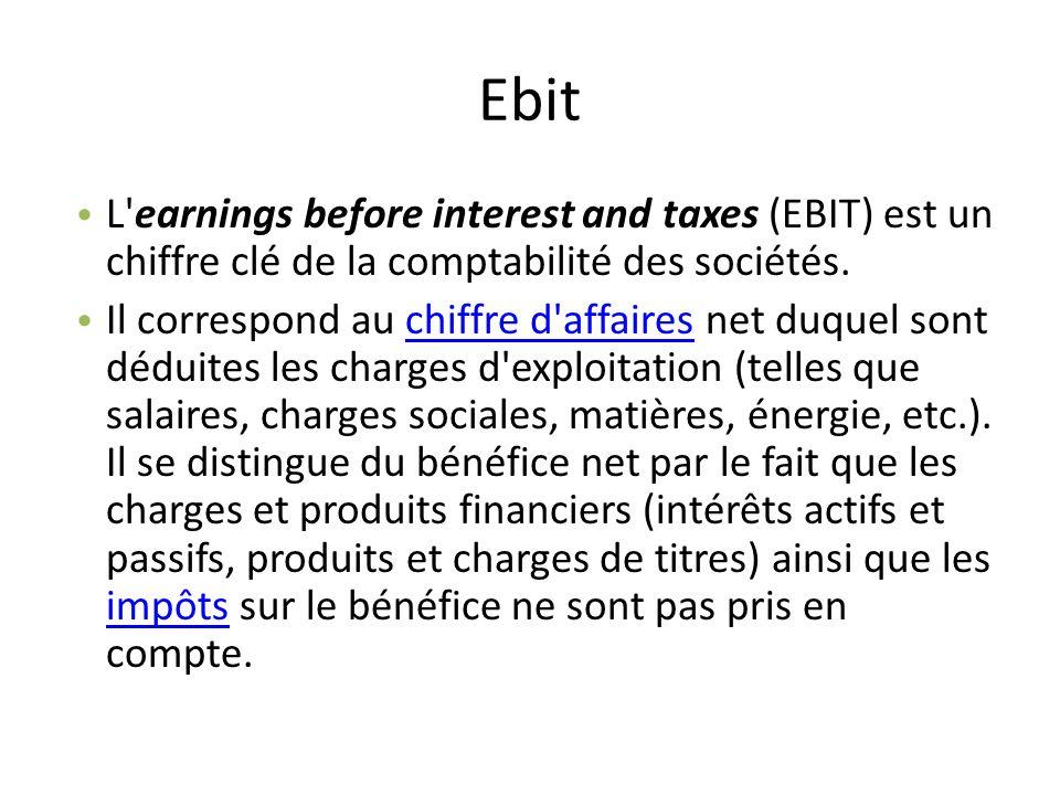 Ebit L'earnings before interest and taxes (EBIT) est un chiffre clé de la comptabilité des sociétés. Il correspond au chiffre d'affaires net duquel so