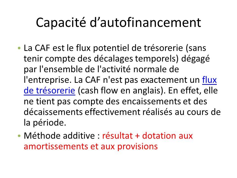 Capacité dautofinancement La CAF est le flux potentiel de trésorerie (sans tenir compte des décalages temporels) dégagé par l'ensemble de l'activité n