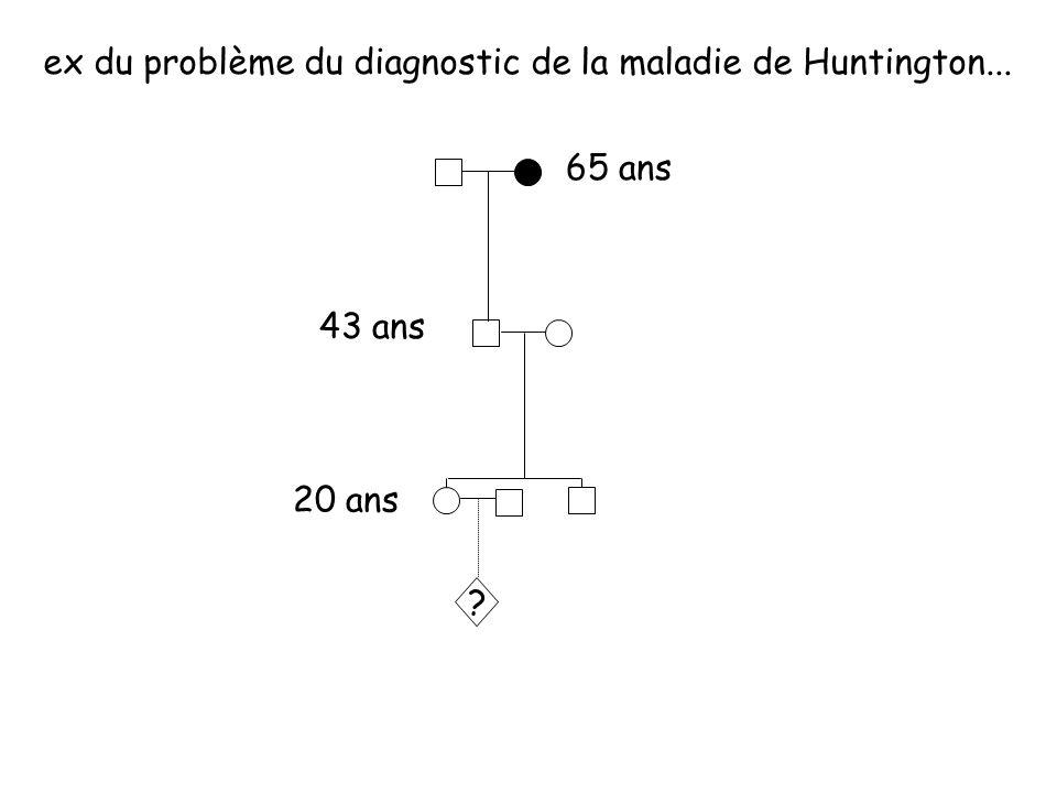 65 ans 43 ans 20 ans ex du problème du diagnostic de la maladie de Huntington... ?