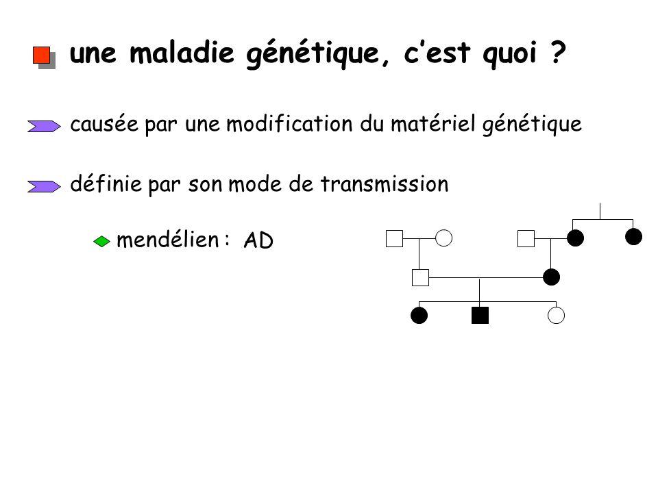 une maladie génétique, cest quoi ? causée par une modification du matériel génétique définie par son mode de transmission mendélien : AD