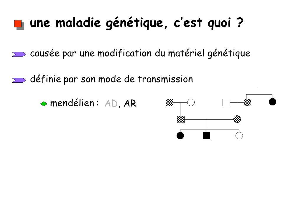une maladie génétique, cest quoi ? causée par une modification du matériel génétique définie par son mode de transmission mendélien : AD, AR