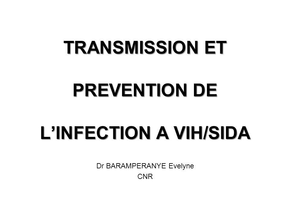 TRANSMISSION ET PREVENTION DE LINFECTION A VIH/SIDA Dr BARAMPERANYE Evelyne CNR