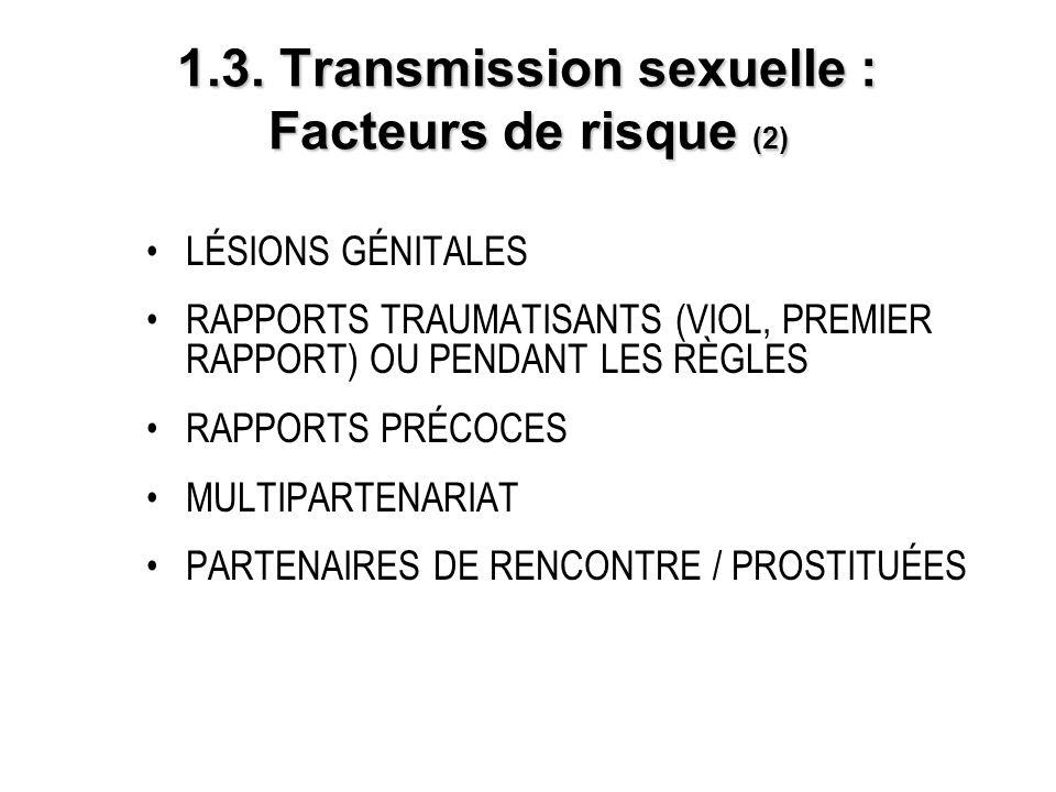 1.3. Transmission sexuelle : Facteurs de risque (2) LÉSIONS GÉNITALES RAPPORTS TRAUMATISANTS (VIOL, PREMIER RAPPORT) OU PENDANT LES RÈGLES RAPPORTS PR