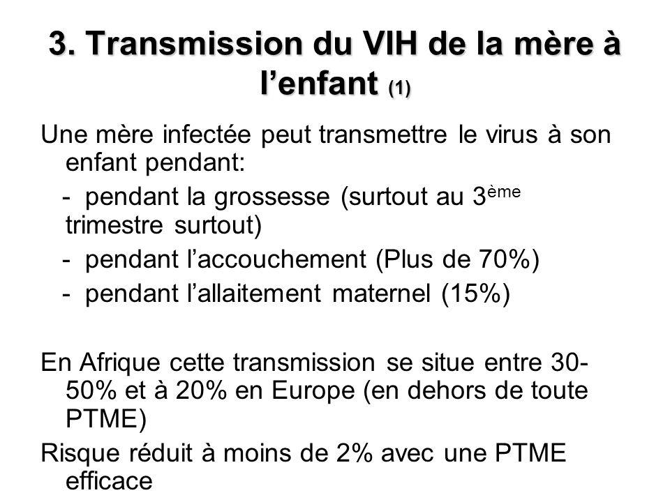 3. Transmission du VIH de la mère à lenfant (1) Une mère infectée peut transmettre le virus à son enfant pendant: - pendant la grossesse (surtout au 3