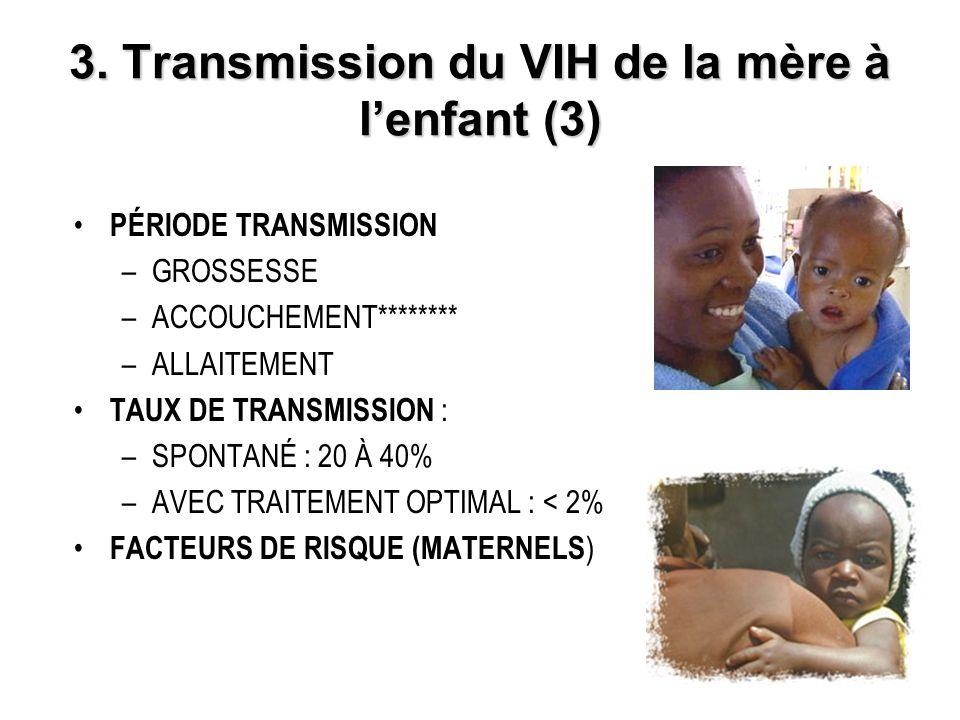 3. Transmission du VIH de la mère à lenfant (3) PÉRIODE TRANSMISSION –GROSSESSE –ACCOUCHEMENT******** –ALLAITEMENT TAUX DE TRANSMISSION : –SPONTANÉ :