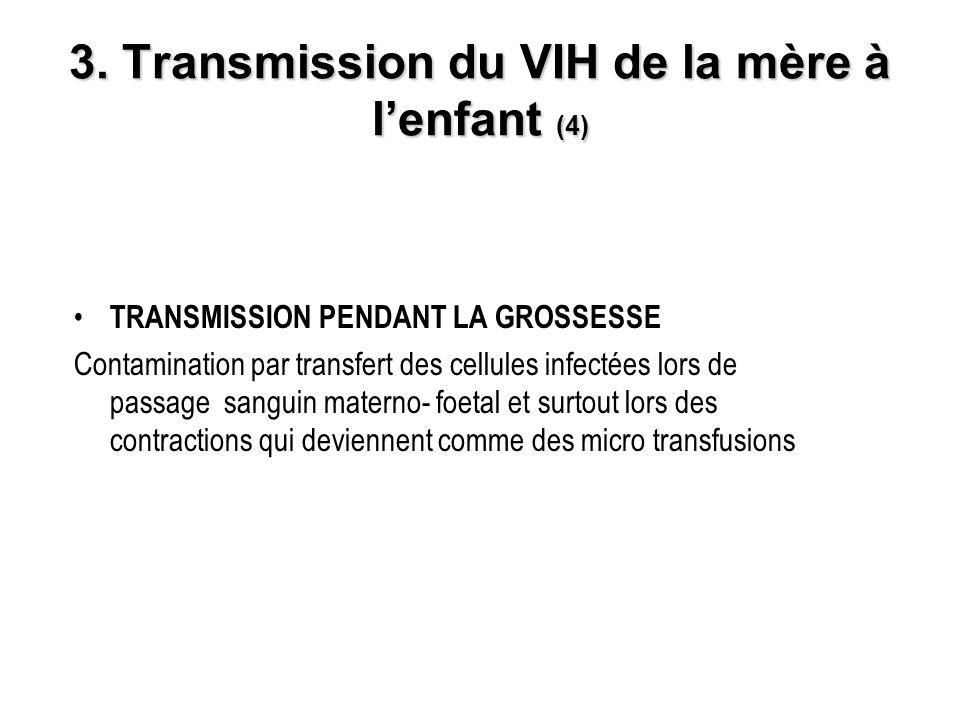 3. Transmission du VIH de la mère à lenfant (4) TRANSMISSION PENDANT LA GROSSESSE Contamination par transfert des cellules infectées lors de passage s