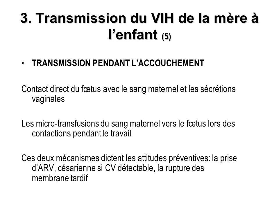 3. Transmission du VIH de la mère à lenfant (5) TRANSMISSION PENDANT LACCOUCHEMENT Contact direct du fœtus avec le sang maternel et les sécrétions vag