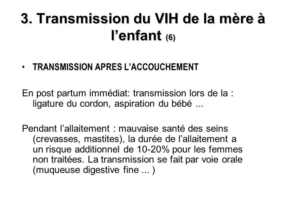 3. Transmission du VIH de la mère à lenfant (6) TRANSMISSION APRES LACCOUCHEMENT En post partum immédiat: transmission lors de la : ligature du cordon