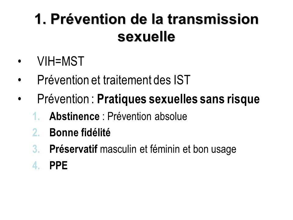 1. Prévention de la transmission sexuelle VIH=MST Prévention et traitement des IST Prévention : Pratiques sexuelles sans risque 1.Abstinence : Prévent