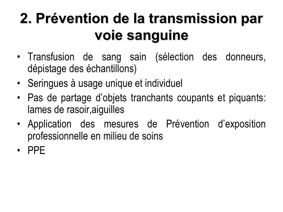 2. Prévention de la transmission par voie sanguine Transfusion de sang sain (sélection des donneurs, dépistage des échantillons) Seringues à usage uni
