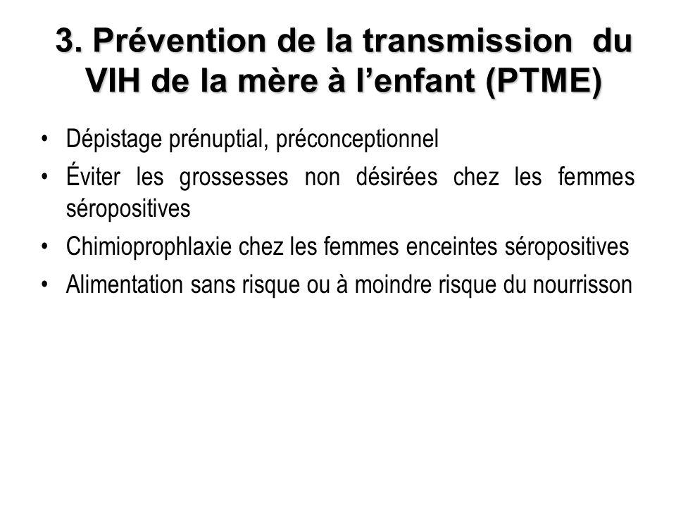 3. Prévention de la transmission du VIH de la mère à lenfant (PTME) Dépistage prénuptial, préconceptionnel Éviter les grossesses non désirées chez les