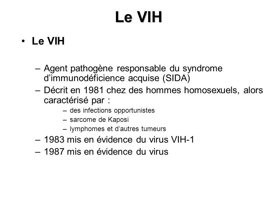 Le VIH –Agent pathogène responsable du syndrome dimmunodéficience acquise (SIDA) –Décrit en 1981 chez des hommes homosexuels, alors caractérisé par :