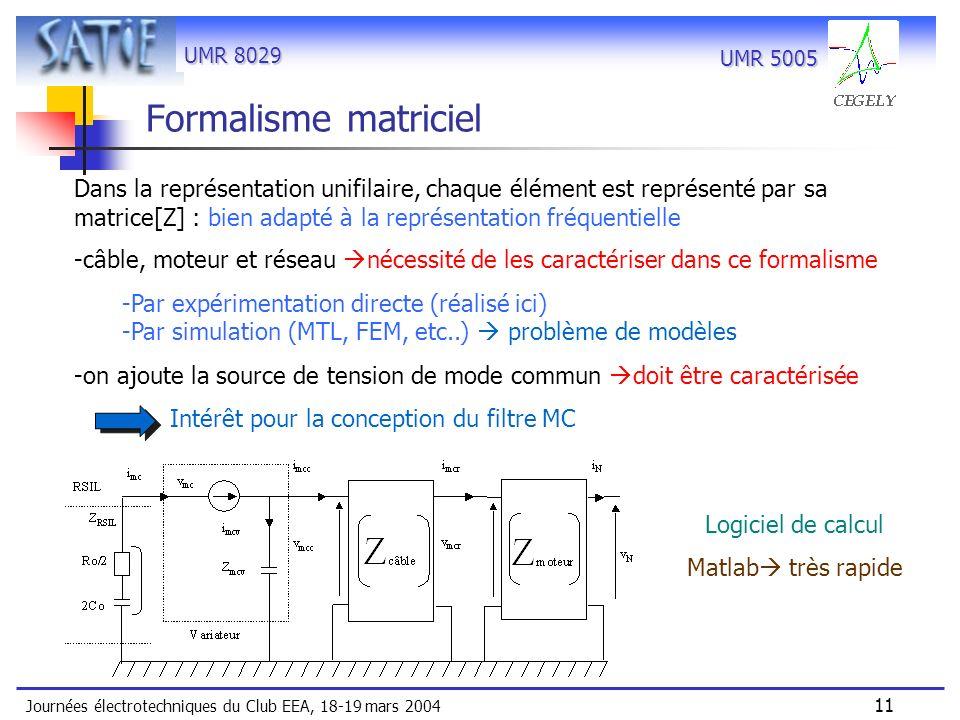 UMR 8029 Journées électrotechniques du Club EEA, 18-19 mars 2004 11 UMR 5005 Formalisme matriciel Dans la représentation unifilaire, chaque élément es