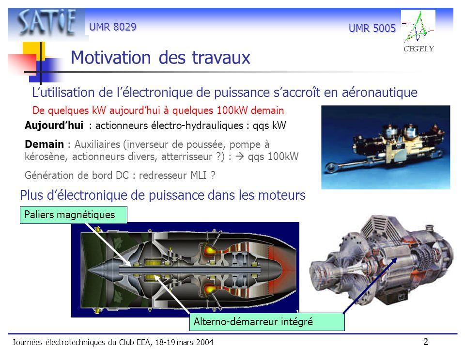UMR 8029 Journées électrotechniques du Club EEA, 18-19 mars 2004 13 UMR 5005 Caractéristiques du Spectre de Vmc -20dB/dec -40dB/dec Fdec=8kHz Modes propres des cellules de commutation Réglages analyseur de spectre 2kHz-15MHz RBW=300Hz détec.