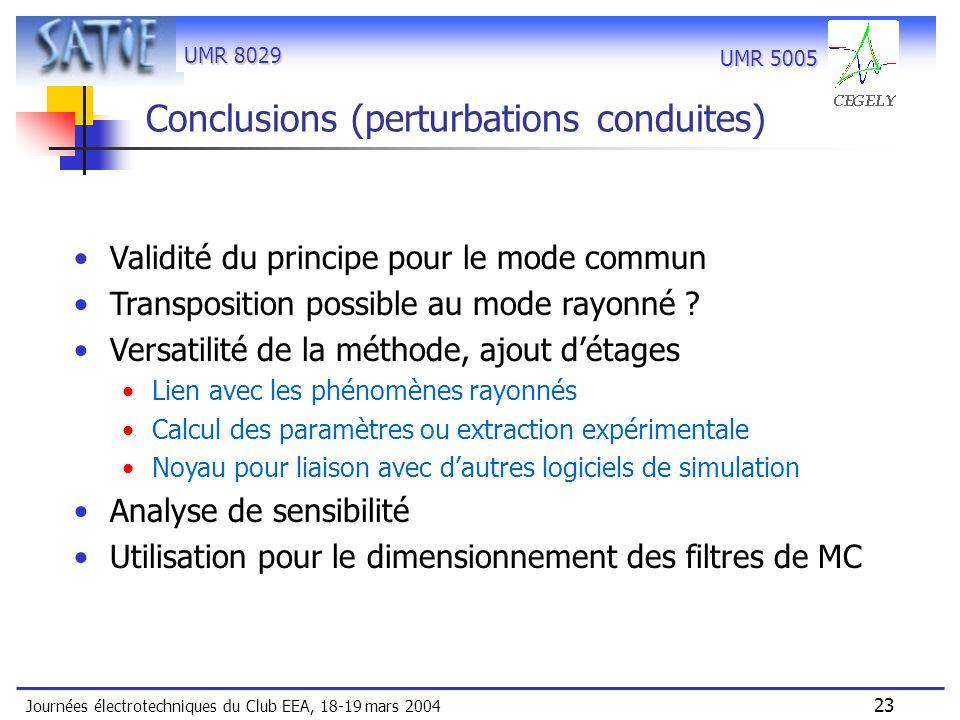 UMR 8029 Journées électrotechniques du Club EEA, 18-19 mars 2004 23 UMR 5005 Conclusions (perturbations conduites) Validité du principe pour le mode c