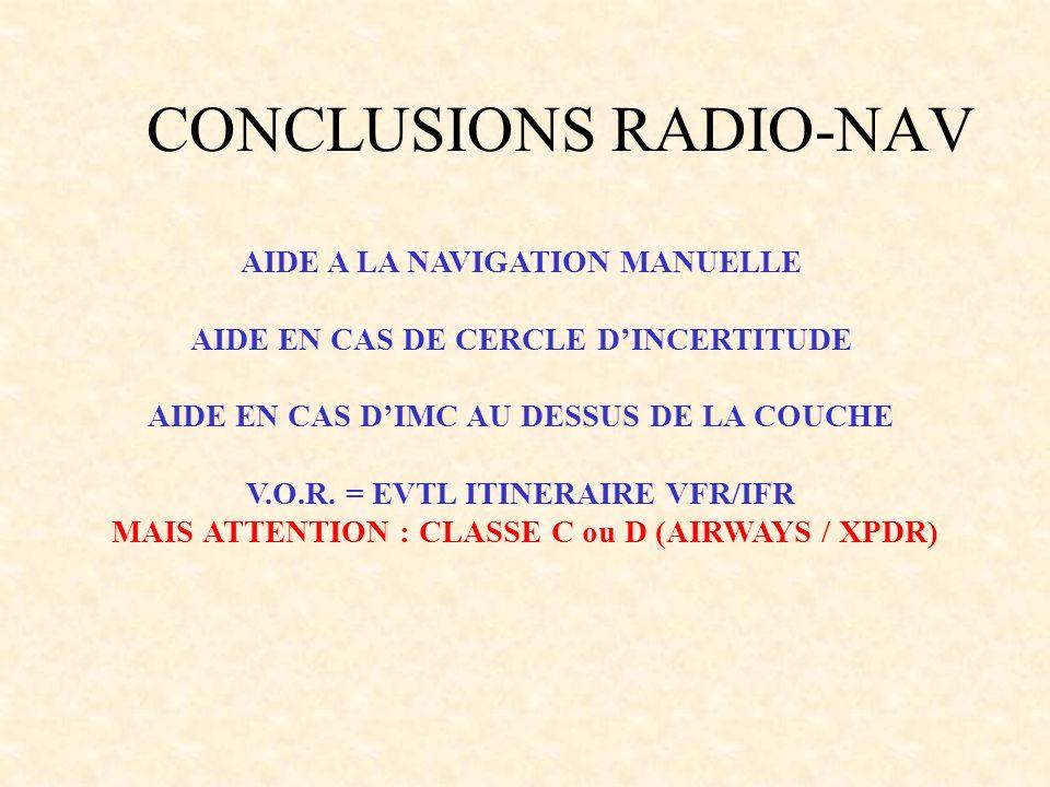 AIDE A LA NAVIGATION MANUELLE AIDE EN CAS DE CERCLE DINCERTITUDE AIDE EN CAS DIMC AU DESSUS DE LA COUCHE V.O.R. = EVTL ITINERAIRE VFR/IFR MAIS ATTENTI