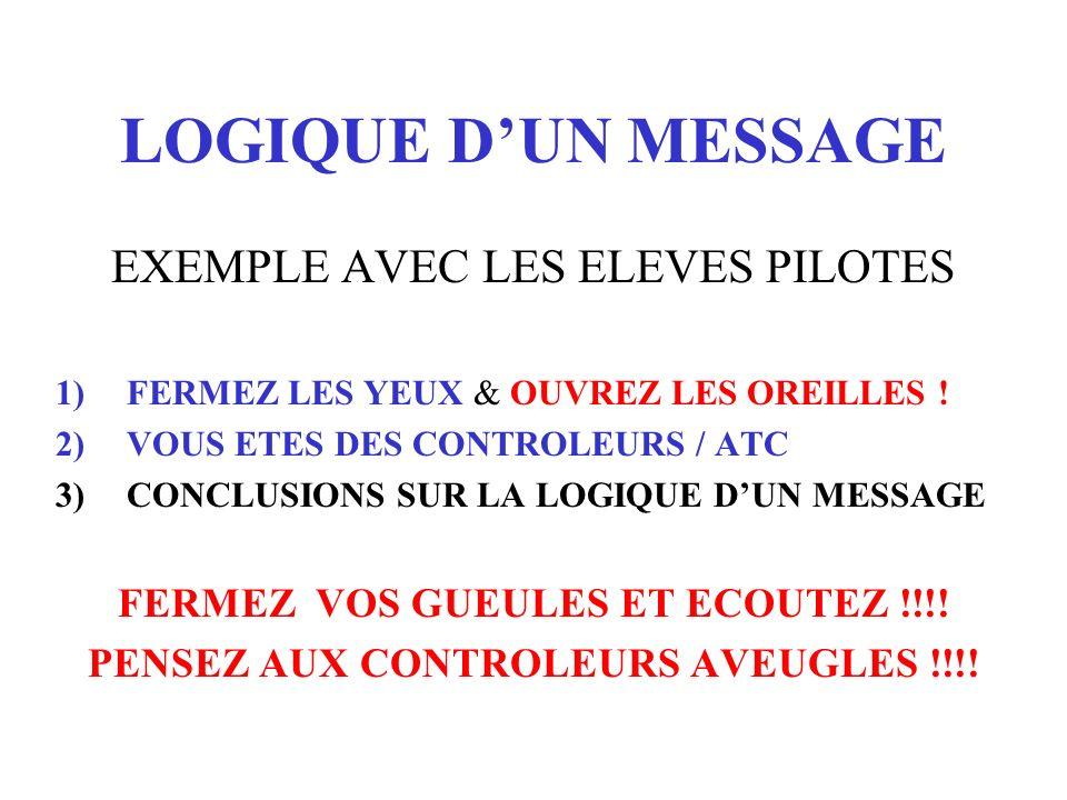 LOGIQUE DUN MESSAGE EXEMPLE AVEC LES ELEVES PILOTES 1)FERMEZ LES YEUX & OUVREZ LES OREILLES ! 2)VOUS ETES DES CONTROLEURS / ATC 3)CONCLUSIONS SUR LA L