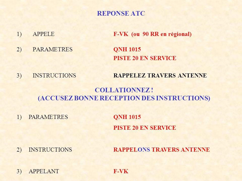 REPONSE ATC 1)APPELEF-VK (ou 90 RR en régional) 2)PARAMETRESQNH 1015 PISTE 20 EN SERVICE 3)INSTRUCTIONSRAPPELEZ TRAVERS ANTENNE 1)PARAMETRESQNH 1015 P