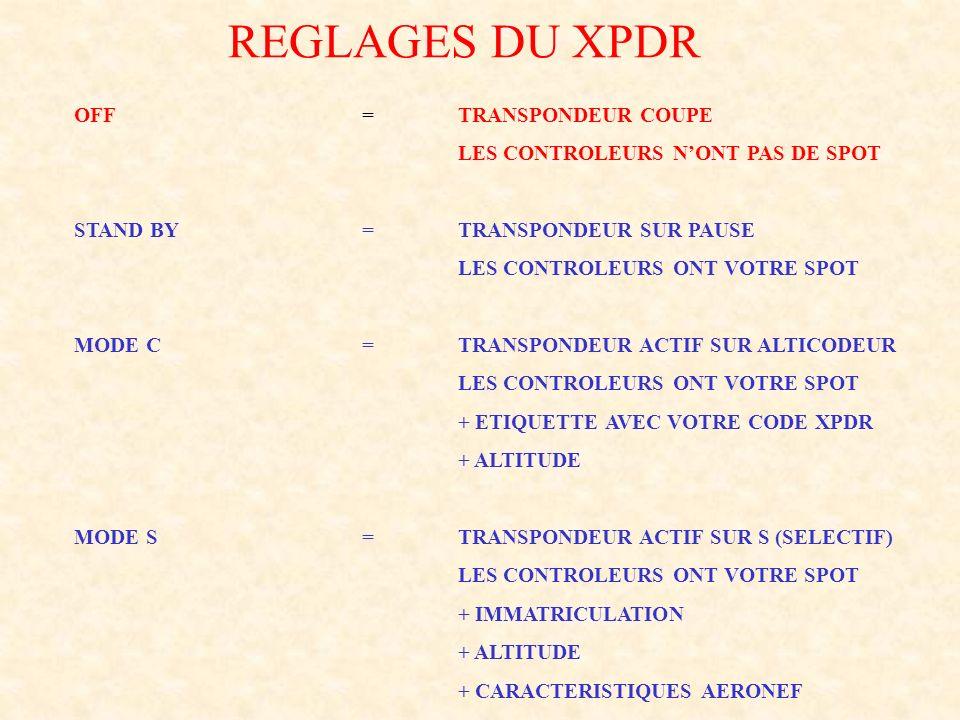 REGLAGES DU XPDR OFF =TRANSPONDEUR COUPE LES CONTROLEURS NONT PAS DE SPOT STAND BY=TRANSPONDEUR SUR PAUSE LES CONTROLEURS ONT VOTRE SPOT MODE C=TRANSP