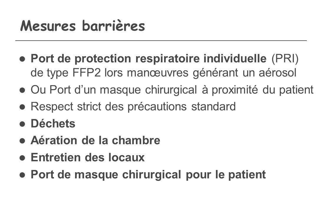 Mesures barrières Port de protection respiratoire individuelle (PRI) de type FFP2 lors manœuvres générant un aérosol Ou Port dun masque chirurgical à