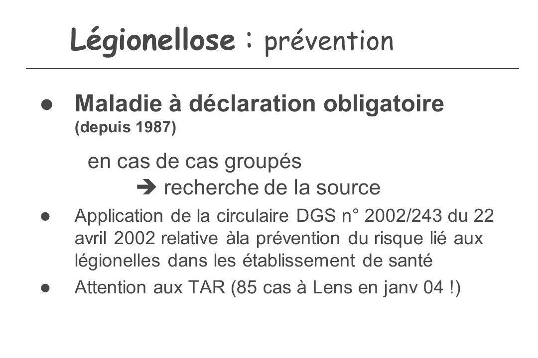 Légionellose : prévention Maladie à déclaration obligatoire (depuis 1987) en cas de cas groupés recherche de la source Application de la circulaire DG