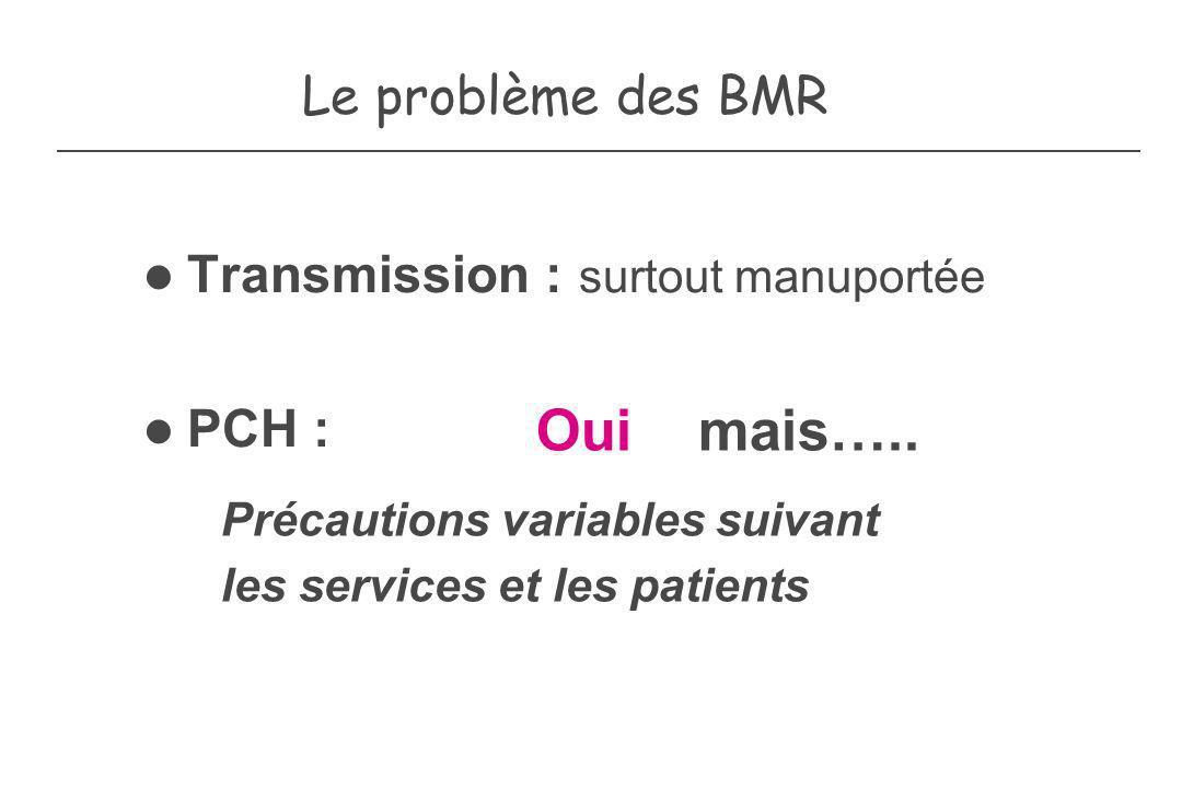 Le problème des BMR Transmission : surtout manuportée PCH : Oui mais….. Précautions variables suivant les services et les patients