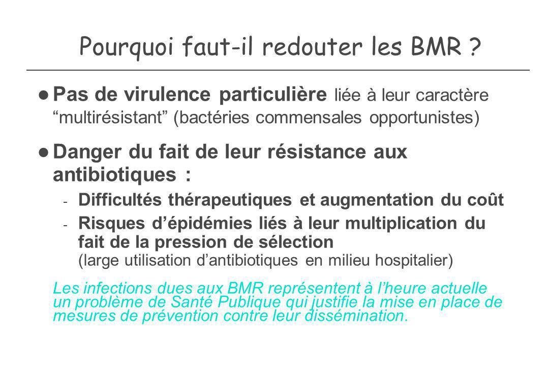Pourquoi faut-il redouter les BMR ? Pas de virulence particulière liée à leur caractère multirésistant (bactéries commensales opportunistes) Danger du