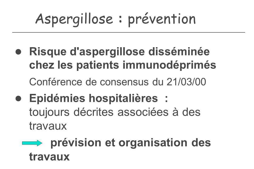Aspergillose : prévention Risque d'aspergillose disséminée chez les patients immunodéprimés Conférence de consensus du 21/03/00 Epidémies hospitalière