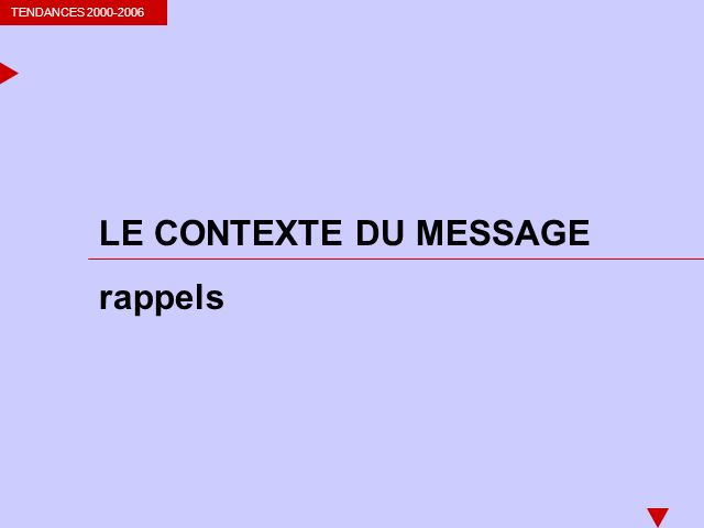 TENDANCES 2000-2006 LE CONTEXTE DU MESSAGE rappels