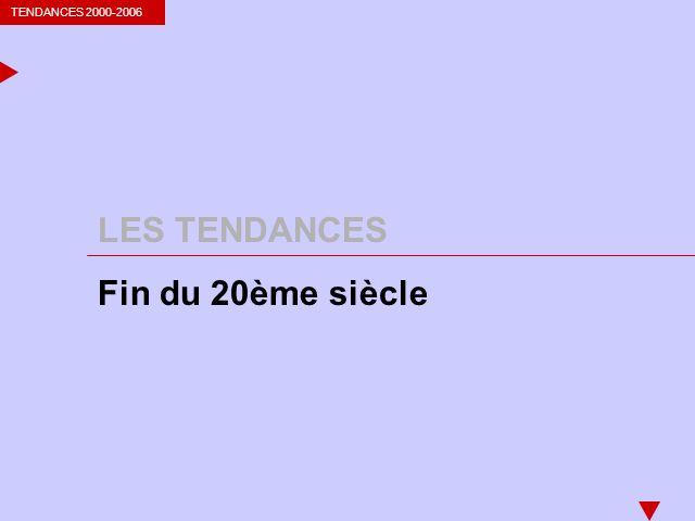 TENDANCES 2000-2006 LES TENDANCES Fin du 20ème siècle