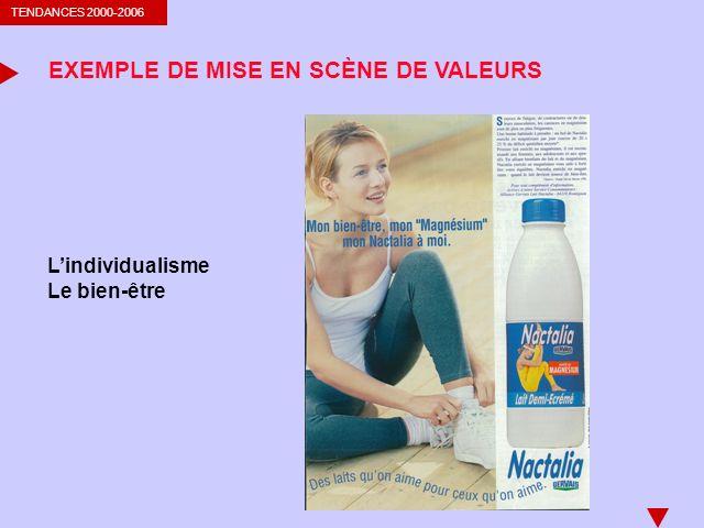TENDANCES 2000-2006 EXEMPLE DE MISE EN SCÈNE DE VALEURS Lindividualisme Le bien-être