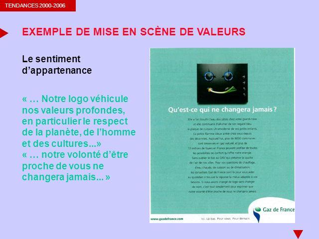 TENDANCES 2000-2006 EXEMPLE DE MISE EN SCÈNE DE VALEURS Le sentiment dappartenance « … Notre logo véhicule nos valeurs profondes, en particulier le re