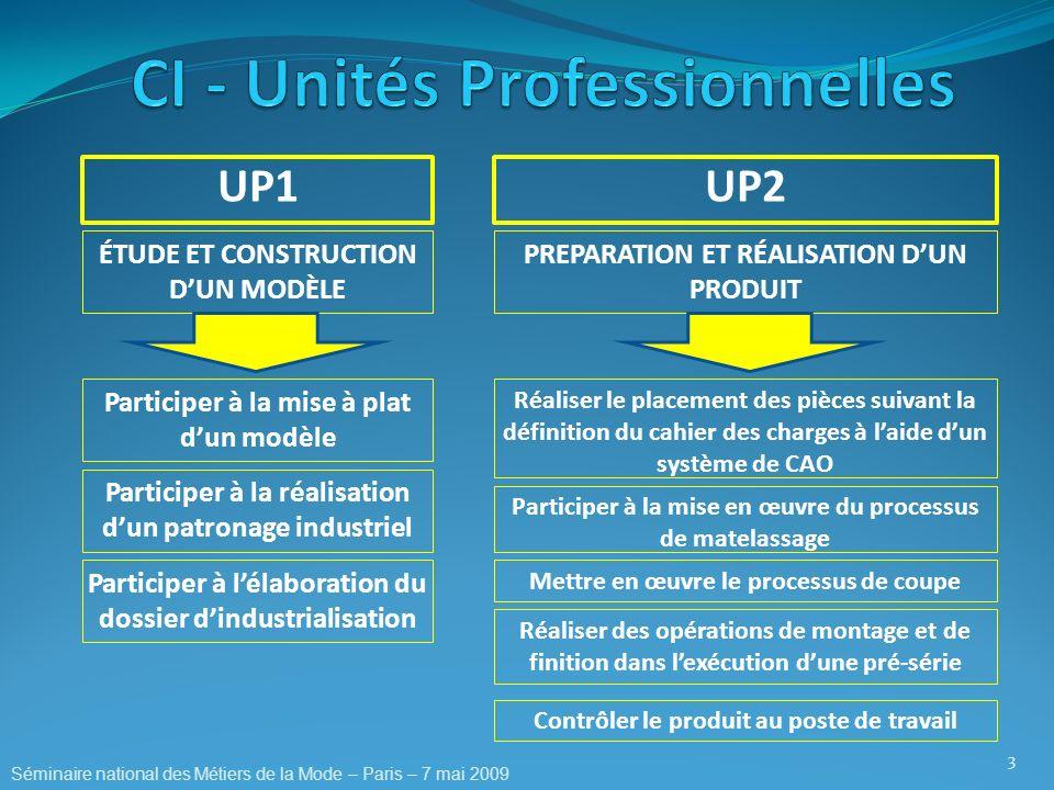 UP1 3 UP2 ÉTUDE ET CONSTRUCTION DUN MODÈLE PREPARATION ET RÉALISATION DUN PRODUIT Participer à la mise à plat dun modèle Participer à la réalisation d