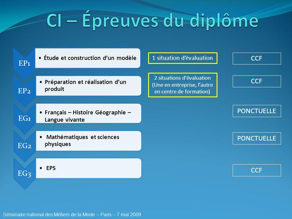 EP1 Étude et construction dun modèle EP2 Préparation et réalisation dun produit EG1 Français – Histoire Géographie – Langue vivante EG2 Mathématiques