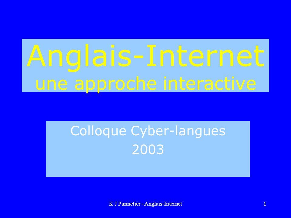 K J Pannetier - Anglais-Internet1 Anglais-Internet une approche interactive Colloque Cyber-langues 2003