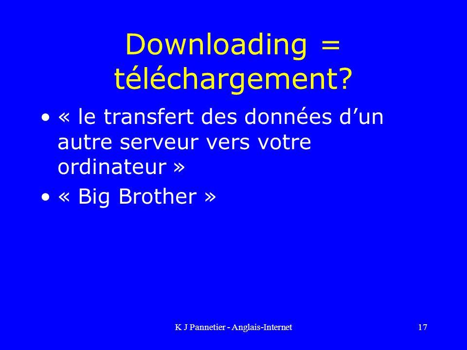 K J Pannetier - Anglais-Internet17 Downloading = téléchargement.