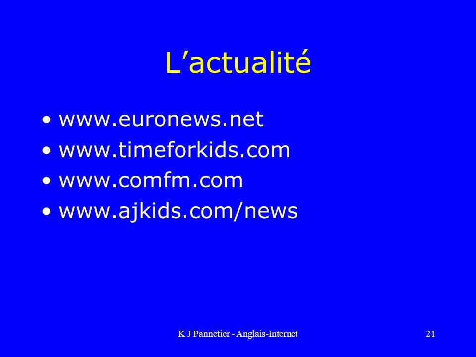 K J Pannetier - Anglais-Internet21 Lactualité www.euronews.net www.timeforkids.com www.comfm.com www.ajkids.com/news