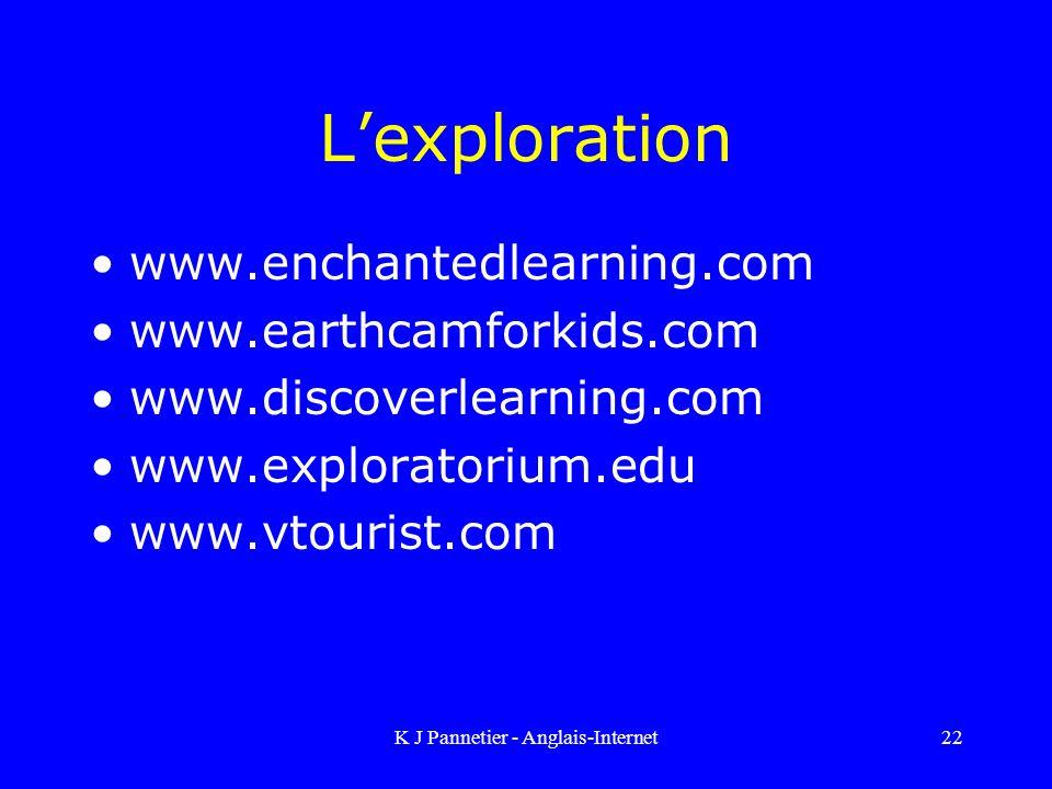 K J Pannetier - Anglais-Internet22 Lexploration www.enchantedlearning.com www.earthcamforkids.com www.discoverlearning.com www.exploratorium.edu www.vtourist.com