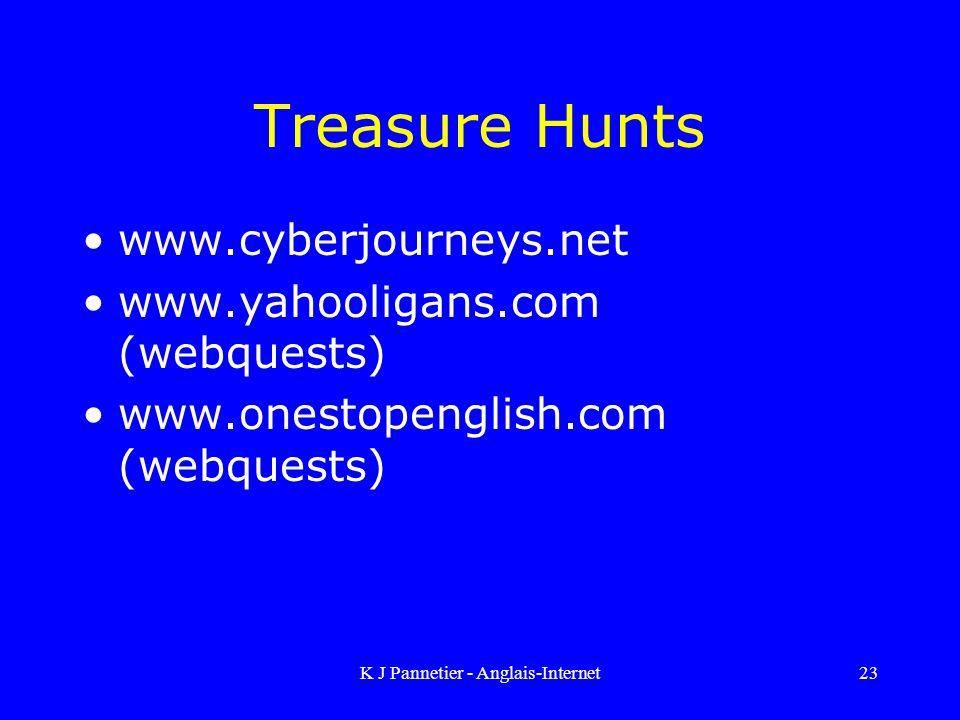 K J Pannetier - Anglais-Internet23 Treasure Hunts www.cyberjourneys.net www.yahooligans.com (webquests) www.onestopenglish.com (webquests)