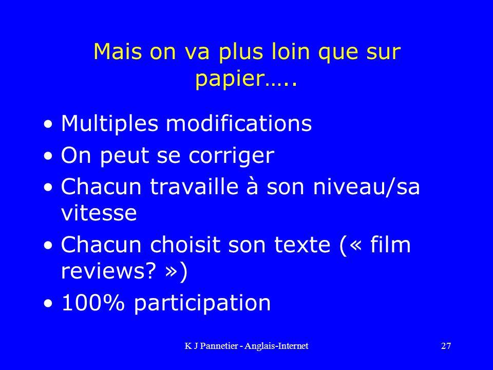 K J Pannetier - Anglais-Internet27 Mais on va plus loin que sur papier…..
