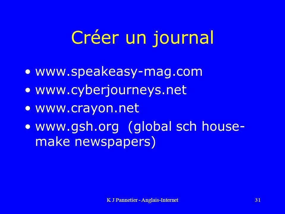 K J Pannetier - Anglais-Internet31 Créer un journal www.speakeasy-mag.com www.cyberjourneys.net www.crayon.net www.gsh.org (global sch house- make newspapers)