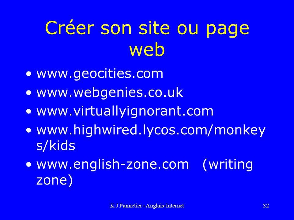 K J Pannetier - Anglais-Internet32 Créer son site ou page web www.geocities.com www.webgenies.co.uk www.virtuallyignorant.com www.highwired.lycos.com/monkey s/kids www.english-zone.com (writing zone)