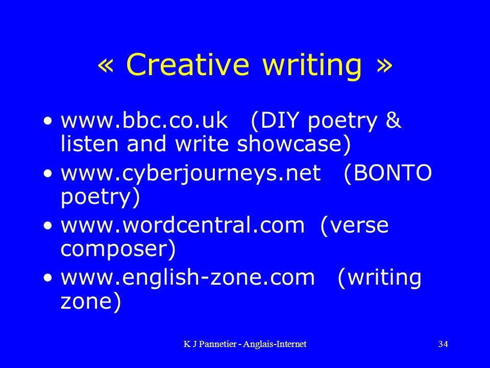 K J Pannetier - Anglais-Internet34 « Creative writing » www.bbc.co.uk (DIY poetry & listen and write showcase) www.cyberjourneys.net (BONTO poetry) www.wordcentral.com (verse composer) www.english-zone.com (writing zone)