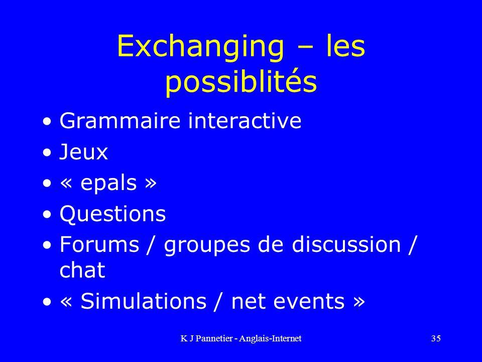 K J Pannetier - Anglais-Internet35 Exchanging – les possiblités Grammaire interactive Jeux « epals » Questions Forums / groupes de discussion / chat « Simulations / net events »