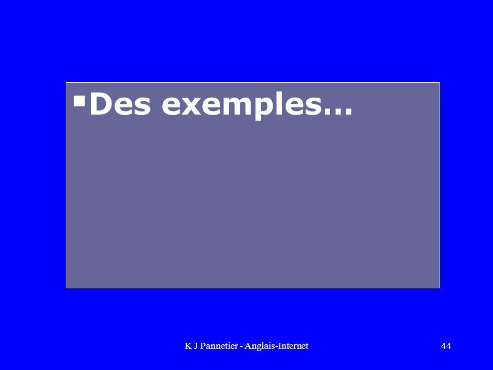 K J Pannetier - Anglais-Internet44 Des exemples…