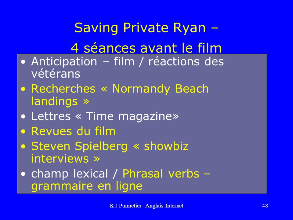 K J Pannetier - Anglais-Internet48 Saving Private Ryan – 4 séances avant le film Anticipation – film / réactions des vétérans Recherches « Normandy Be