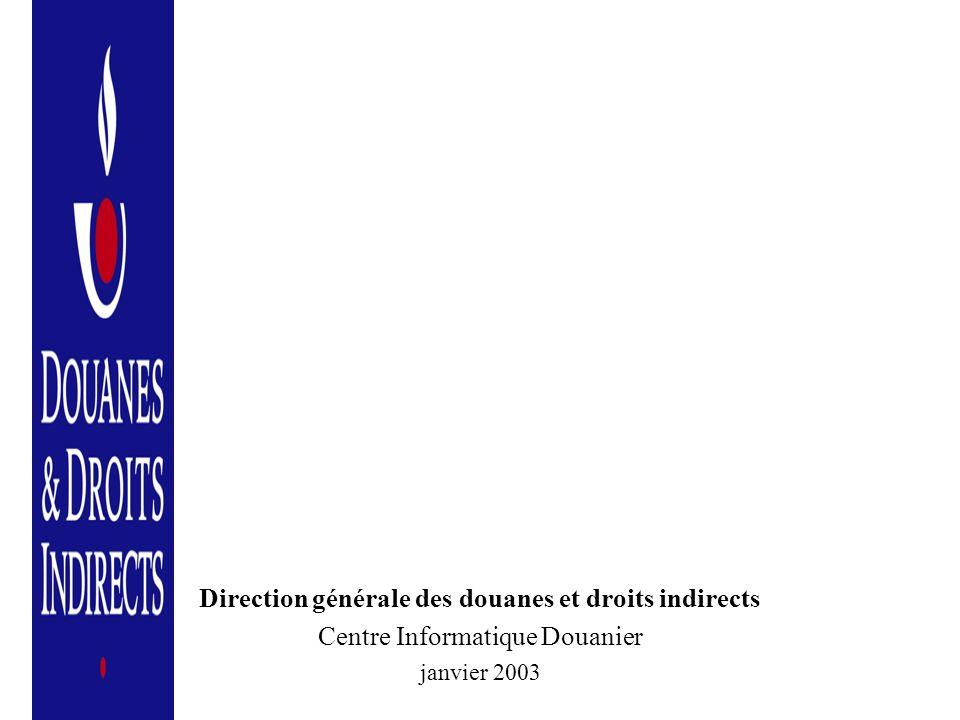 Direction générale des douanes et droits indirects Centre Informatique Douanier janvier 2003